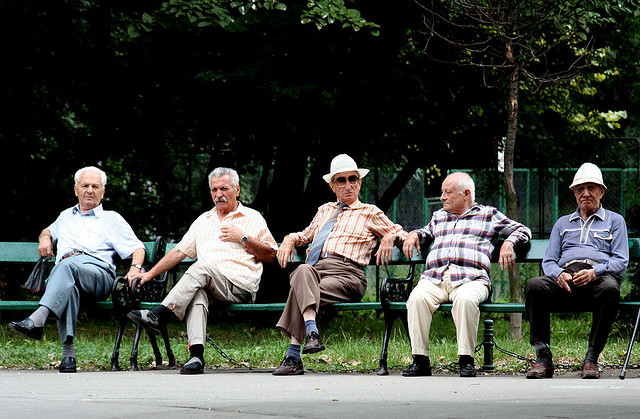 Elderly Street Gang Reclaims Park Bench from Truant Teens