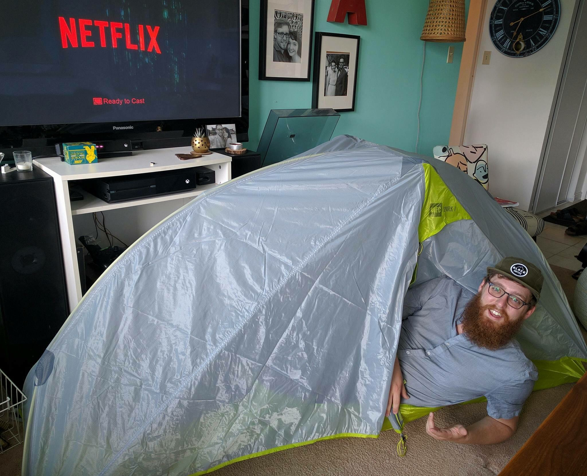 Hintonburg Hipster Practices Pitching Tent in Living Room to Prepare for First Authentic Camping Trip